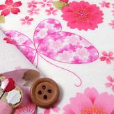 和風コットン生地・桜と蝶々(白)