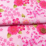 和風コットン生地・桜と蝶々(ピンク)