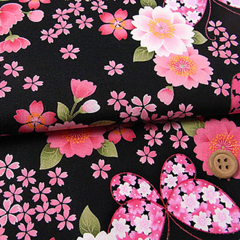 和風コットン生地・桜と蝶々(黒)