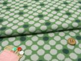 和風コットン生地・かすり水玉(緑)