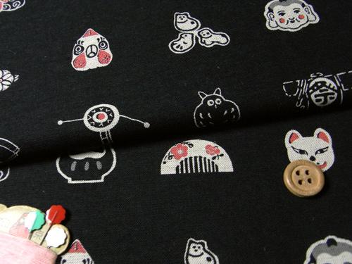 和風コットン生地・匠 日本の伝統玩具(黒)