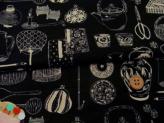 和風コットン生地・匠 日本の伝統調度品(黒)