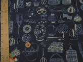 和風コットン生地・匠 日本の伝統調度品(紺)