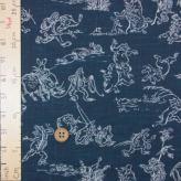 和柄コットン生地・鳥獣人物戯画・1mカット/約110cm×100cm
