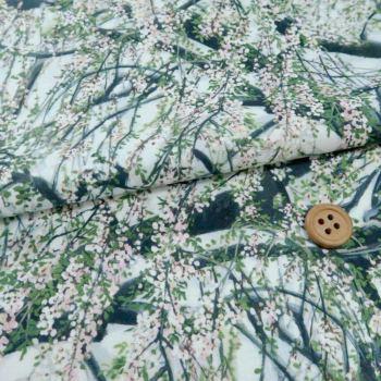 和柄コットン生地 山桜(ほんのりグレー)