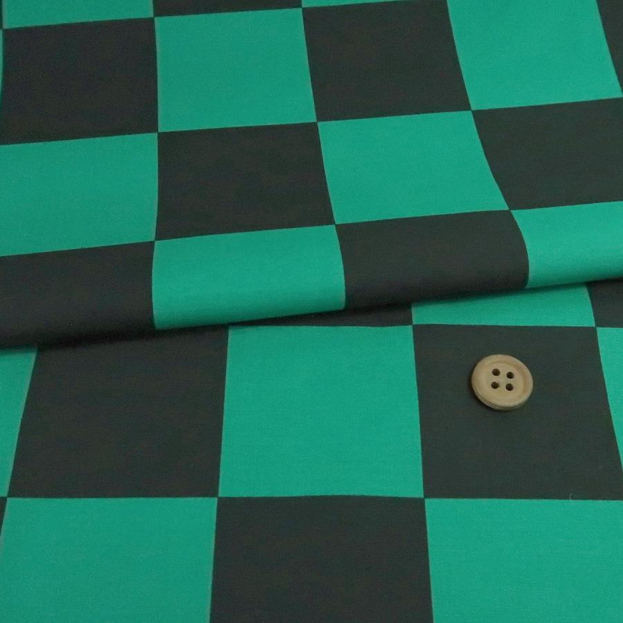鬼滅の刃柄生地ランキング1位コットン生地 市松柄4.4cm角(黒/緑)