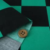 コットン生地 大きな市松柄(黒/緑)アニメコスプレ