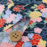 和柄コットン生地 アムンゼン 和花と波模様(紺)