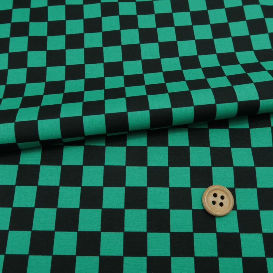 鬼滅の刃柄生地ランキング1位コットン生地 市松柄1.4cm角(黒/緑)