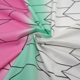 ぼかし地に変わり矢羽根柄(白/緑/ピンク)