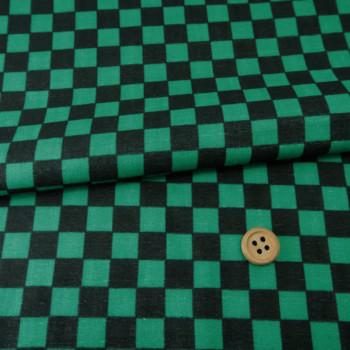 ダブルガーゼ生地 市松柄1.4cm角(黒/緑)