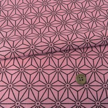ムラ糸モーリークロス 手捺染 麻の葉柄(ピンク)