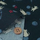 和柄コットン生地 円に猫のシルエット(紺色)