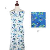 和柄コットン生地 海のなかまと波模様(青)