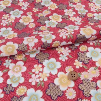 和柄コットン生地 波に踊る花たち(赤)