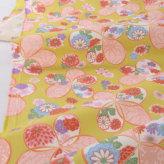 和柄コットン生地 アムンゼン リボンの和花(からし色)