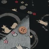 和柄コットン生地 円に猫のシルエット(黒)