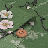 和柄コットン生地 梅の古木(緑)
