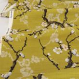 和柄コットン生地 梅の古木(からし色)