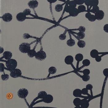コットン生地 北欧風シンプル植物柄 150cm幅(グレイネイビー) 10cm単位 切り売り