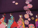 和風コットン生地・舞妓さんのおでかけ(紫)