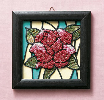 キット・メタリックヤーンで作るお花のタペストリー バラ