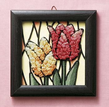 キット・メタリックヤーンで作るお花のタペストリー チューリップ