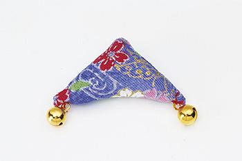 ちりめんつるし飾りパーツ(完成品)・三角(青)