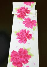 浴衣地反物・大輪牡丹(赤紫)38cm幅×13m巻【数量限定】