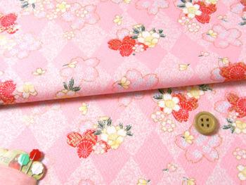 ポリ京友禅74cm幅・ダイヤ地に桜(ピンク)