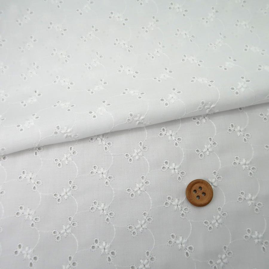 綿レース生地*30cmカット* 小花柄(白) 国産60ローン