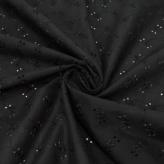 綿レース生地*30cmカット* 小花柄(黒) 国産60ローン