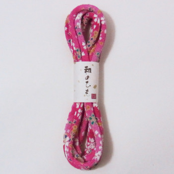 ちりめん丸ひも(1.8m巻)友禅柄・5ミリ 桜柄(濃ピンク)