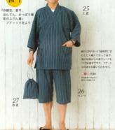 しじら織り生地・たて縞(藍色)