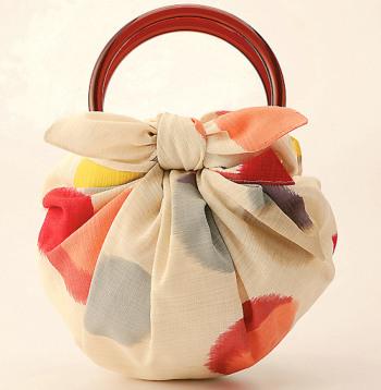 風呂敷バッグ(ふろしき+リング)綿 モダンガール・水玉 ベージュ