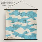 チーフ48cm角 鳥獣人物戯画・雲取り ブルー