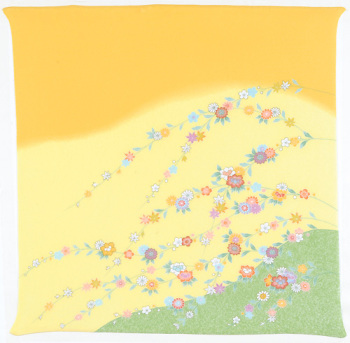 風呂敷68cm角 正絹ちりめん友禅・花の枝 ヤマブキ