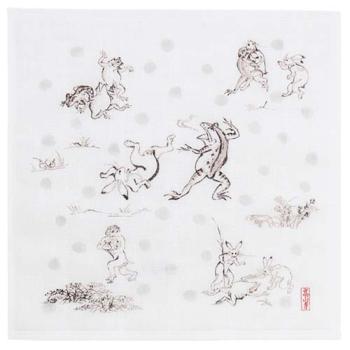 七衣ふきん 鳥獣人物戯画 相撲(グレー)