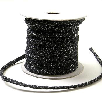 木綿の丸ひも・小紋柄・2ミリ(実寸約2-3ミリ) 渦巻き・黒