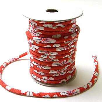 ちりめん丸ひも・柄・3ミリ(実寸約4ミリ) 桜レトロ・赤