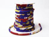 ちりめん丸ひも・柄・3ミリ(実寸約4ミリ) 彩り椿・ブルー