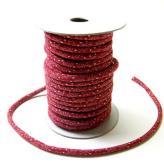 木綿の丸ひも・小紋柄・3ミリ(実寸約3-4ミリ) 笹の葉・えんじ