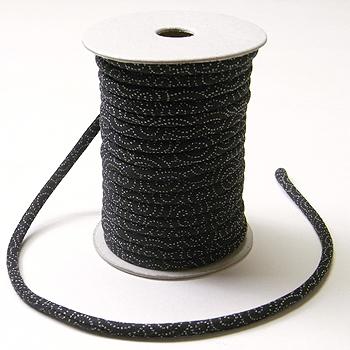 木綿の丸ひも・小紋柄・3ミリ(実寸約3-4ミリ) 渦巻き・黒