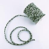 ちりめん丸ひも・小紋調柄・3ミリ(実寸約4ミリ) 唐草・緑