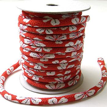 ちりめん丸ひも・柄・4ミリ(実寸約5-6ミリ) 桜レトロ・赤