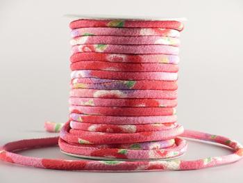 ちりめん丸ひも・柄・4ミリ(実寸約5-6ミリ) 夢椿・赤/濃ピンク
