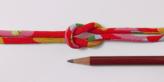 ちりめん丸ひも・柄・4ミリ(実寸約5-6ミリ) 福つばき・赤