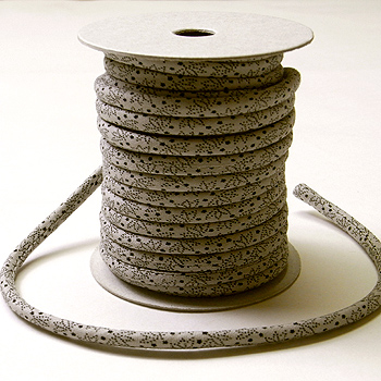 木綿の丸ひも・小紋柄・4ミリ(実寸約4-5ミリ) 笹の葉・灰