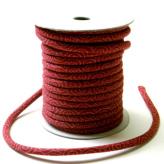 木綿の丸ひも・小紋柄・4ミリ(実寸約4-5ミリ) 渦巻き・えんじ