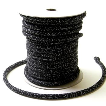 木綿の丸ひも・小紋柄・4ミリ(実寸約4-5ミリ) 渦巻き・黒